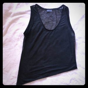 Tops - Asymmetrical Black Sheer tank top